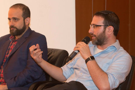 Sam taking part in a Holocaust Remembrance Day panel on historical revisionism in Tel Aviv.