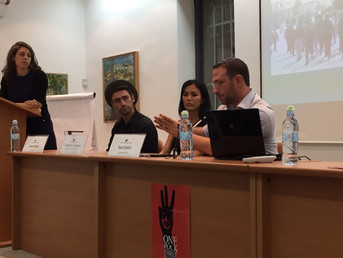 Sam discussing the role of Jerusalem in the Israeli-Arab conflict at an event in Jerusalem.