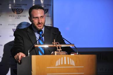 Sam accepting the 2015 B'nai B'rith Diaspora Reportage Award at a ceremony in Jerusalem