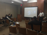 Sam explaining the Russo-Ukrainian conflict at a University in Boston.