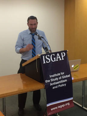 Sam delivering a lecture on antisemitism and memory politics at the Institute for Global Antisemitism and Policy in Manhattan.