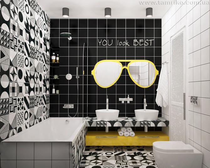 В ярких красках. Дизайн маленькой ванной комнаты