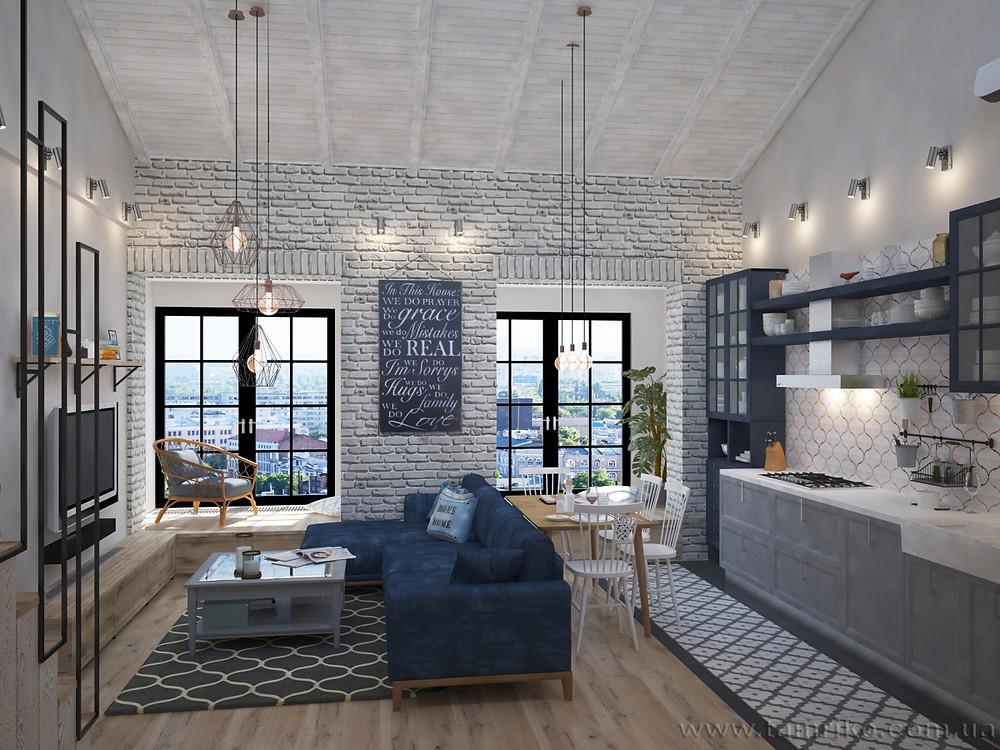 Дизайн интерьера 2-х уровневой квартиры_Интерьер гостиной-кухни