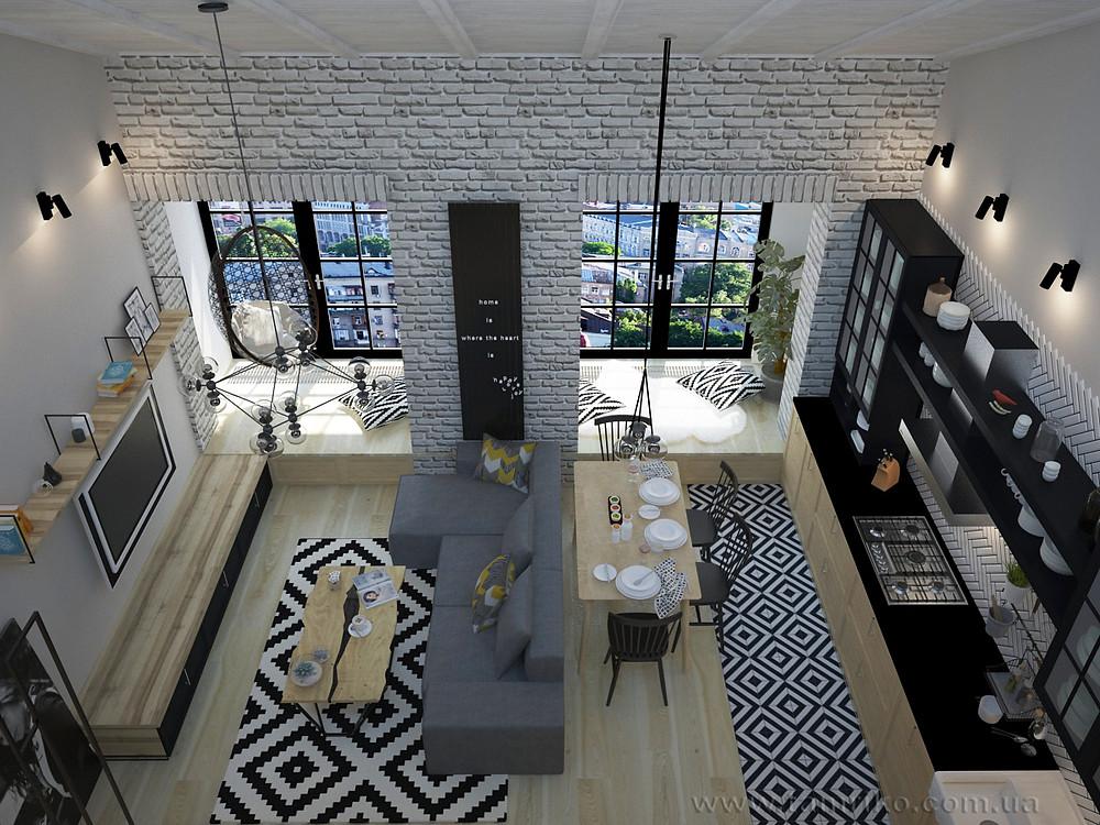 Дизайн квартиры в стиле лофт. Дизайн интерьера  Харьков