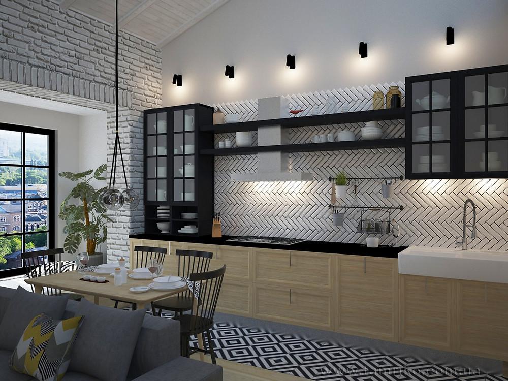 кухни в стиле лофт фото