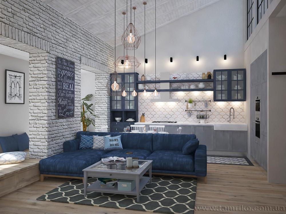 Дизайн интерьера 2-х уровневой квартиры_Интерьер гостиной