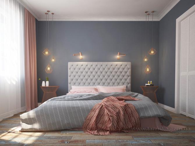 Дизайн интерьера спальни в серо-розовых тонах