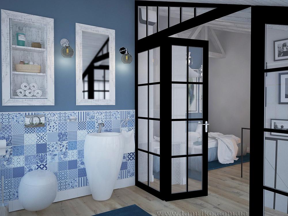 Дизайн интерьера ванной в голубом цвете