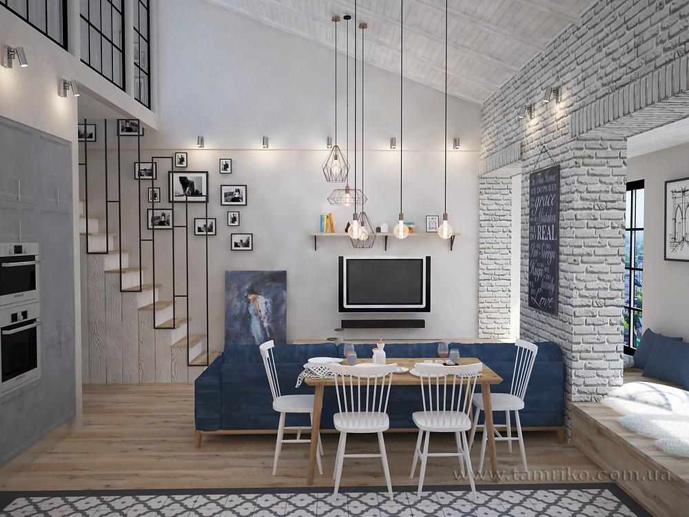Дизайн интерьера 2-х уровневой квартиры_Интерьер гостиной лофт