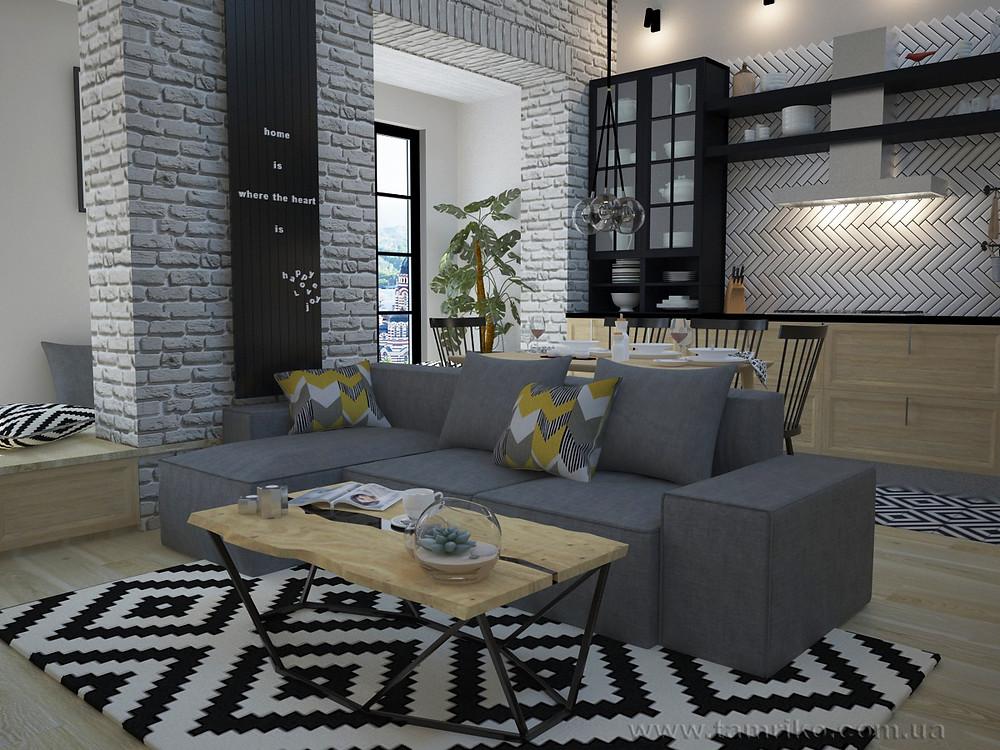 Дизайн интерьера в стиле лофт. Дизайн квартиры Харьков