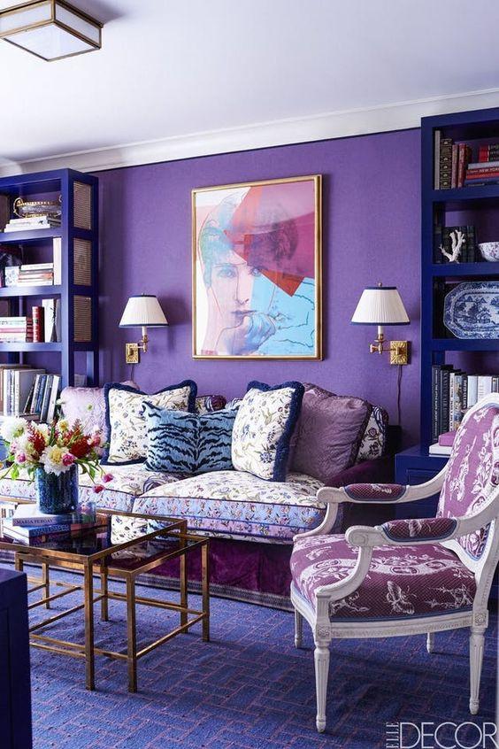 с каким цветом сочетается фиолетовый в интерьере