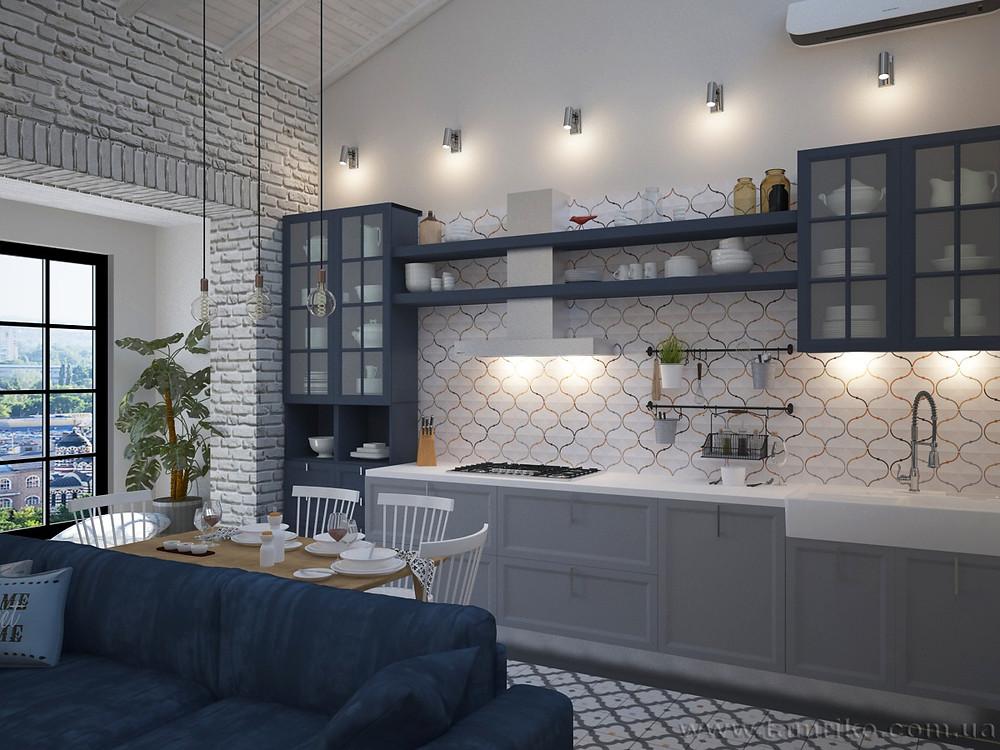 Дизайн интерьера 2-х уровневой квартиры_Интерьер кухни