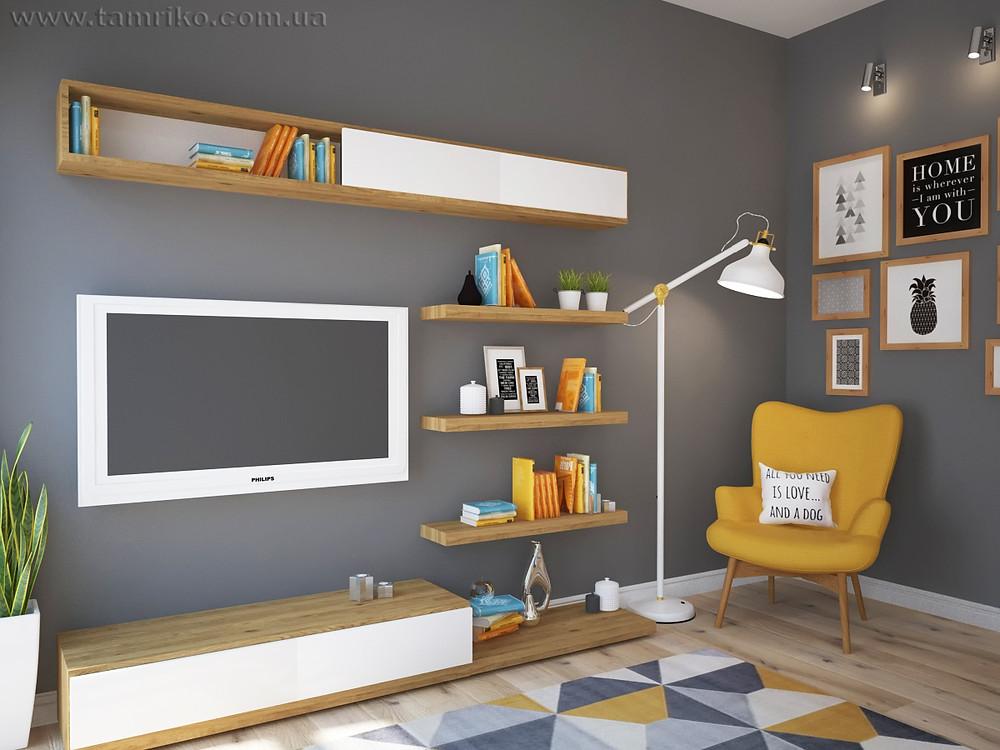 желто серый интерьер