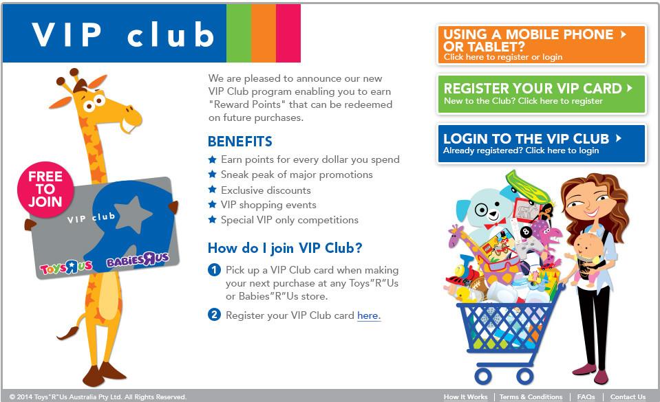 "Toys""R""Us VIP Club landing page by IQ Gecko"