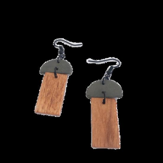 Steel Grey + Cherry Wood - Modern Geometric Eco-Earrings