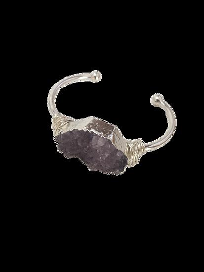 Soothing Amethyst Sparkle - Bangle-Cuff Bracelet