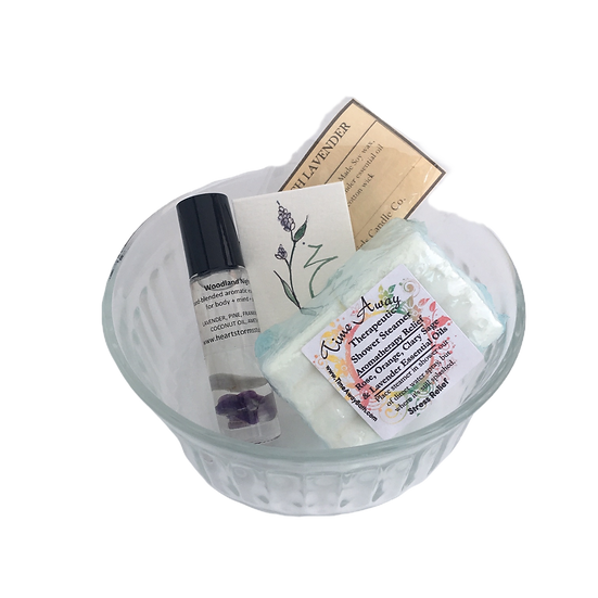 Stress Relief Healing Care Kit - Essential Oil Roll On + Shower Tablets + Candle