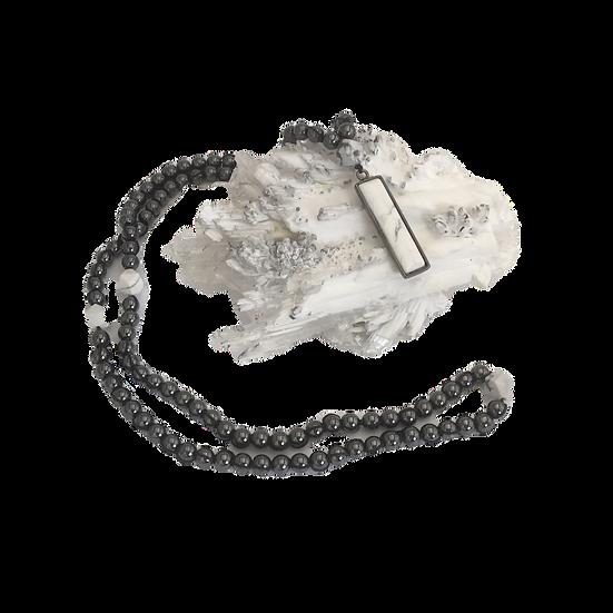 Hematite & Howlite Mala - Stabilizing + Soothing Meditation/Prayer Necklace