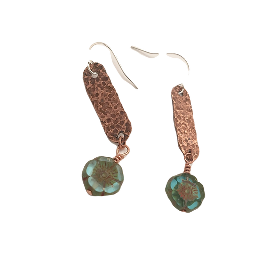 Glass Flower + Hammered Copper - Cabinet Card Muse Earrings