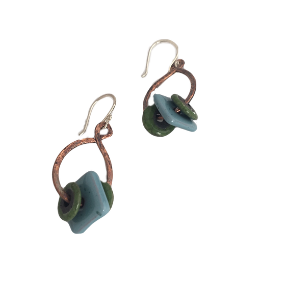 Blue & Green Glass + Hammered Copper - Cabinet Card Muse Earrings