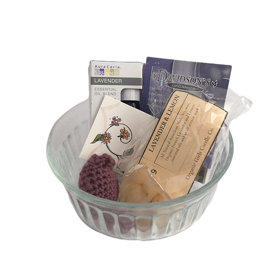 Anxious Ease Healing Care Kit - Lavender Roll On+ Candles+ Tea+ Worry Stone