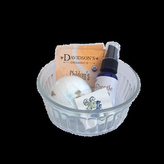 Kids Cold & Flu Healing Care Kit - Aromatherapy Oil+ Bath Bomb + Children's Tea