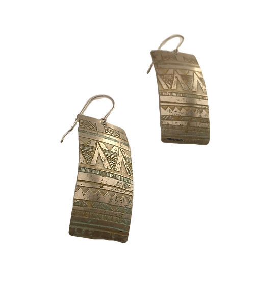 Etched Nickel - Geometric Patterned Rectangle Earrings