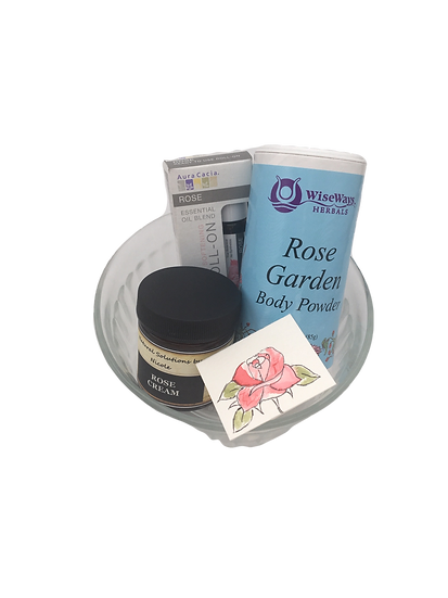 Rose Garden Healing Care Kit - Aromatherapy Face Cream+ Body Powder+ EO Roll On