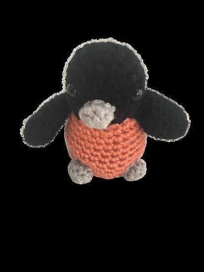 Super Cute Coral Pink + Grey + Black - Amigurumi Crochet Bird