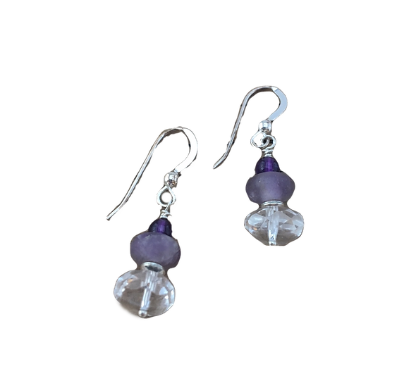 Divine Clarity - Quartz-Amethyst-Fluorte + Sterling Silver Earrings