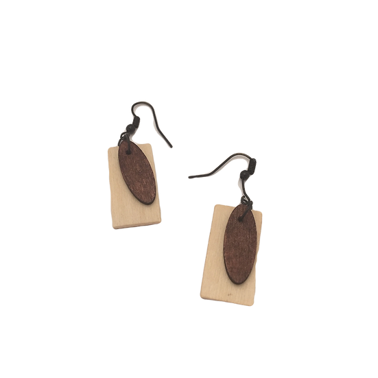 Vintage Maple + Mahogany - Modern Geometric Eco-Earrings