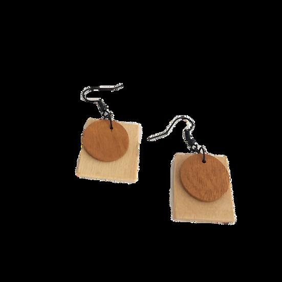 Natural Oak and Cherry Wood - Modern Geometric Eco-Earrings