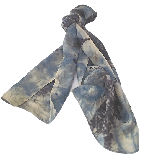 Botanical Blue Eco-Dyed Silk - Wearable Art Scarf