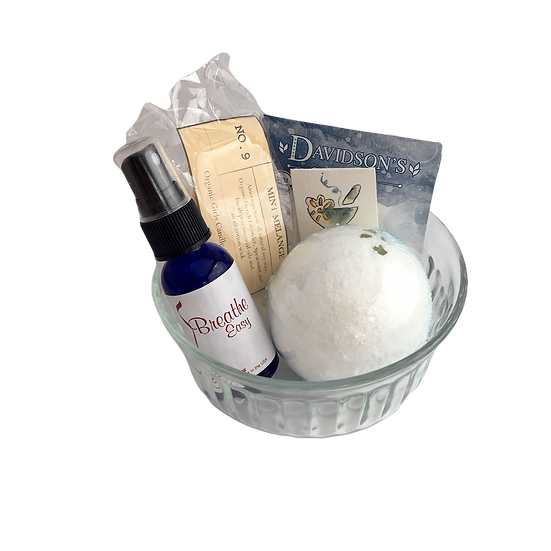 Breathe Easy Healing Care Kit - Aromatherapy Oil+ Bath Bomb+ Candles + Tea+ Card