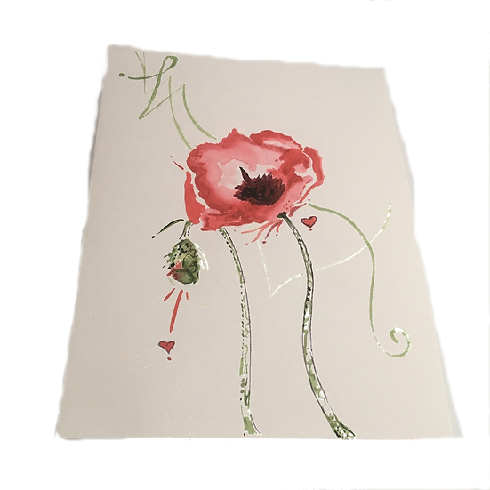 Botanical Queen Cards- Passionate Poppy - OOAK Original Art Greeting