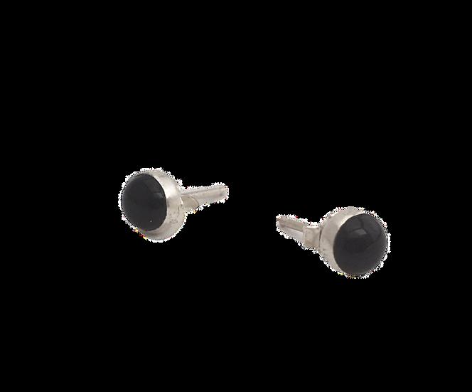 Ebony - Onyx Stone + Silver Stud Earrings
