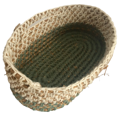 Sage Green + White - Rustic Rope Crochet Basket