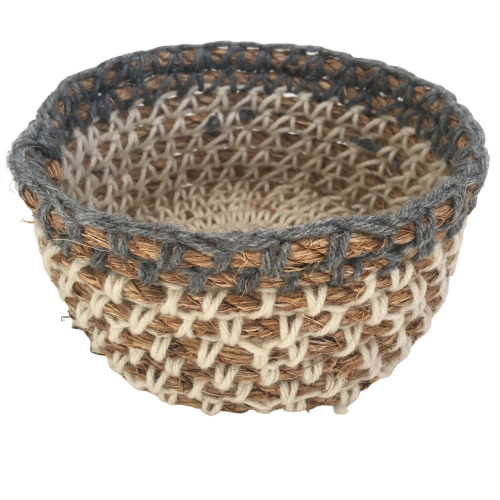 "Soft Neutral Grey + White - Rustic Rope Basket ""Catch All"""