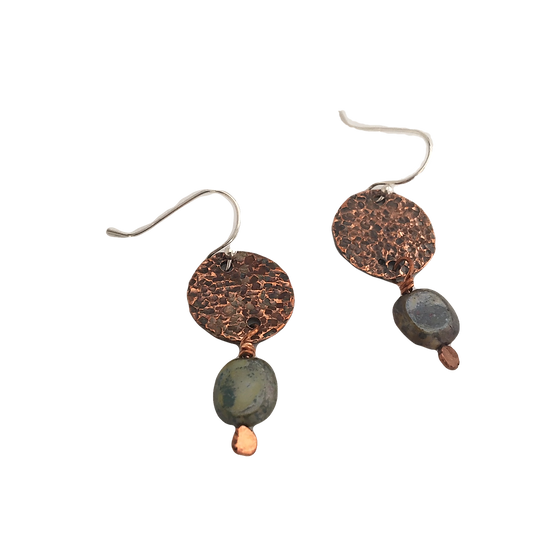 Iridescent Glass + Hammered Copper - Cabinet Card Muse Earrings