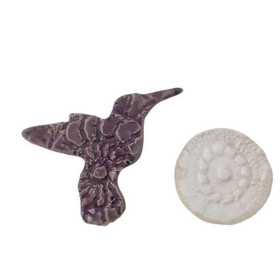 Plum Purple Hummingbird + White Flower - Patterned Ceramic Magnet Set