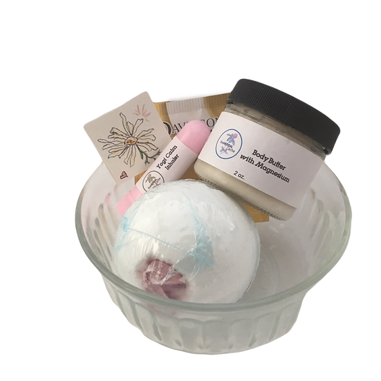 Chamomile Calm Healing Care Kit - Bath Bomb + EO Inhaler +Magnesium Cream + Tea