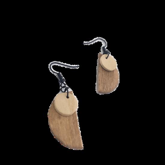 Light Wood + Half Moon - Modern Geometric Eco-Earrings