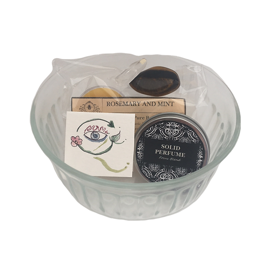 Focus Healing Care Kit - Beeswax Candles+ Solid Perfume + Tigers Eye+ Quartz