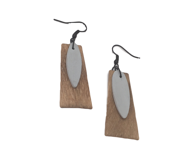 Country Pine + Glamour Grey - Modern Geometric Eco-Earrings