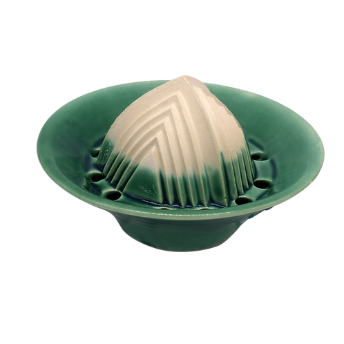 Handgemachter Keramik-Entsafter für zitrusfrüchte & mehr 6cmx8cmx14cm (Grün)