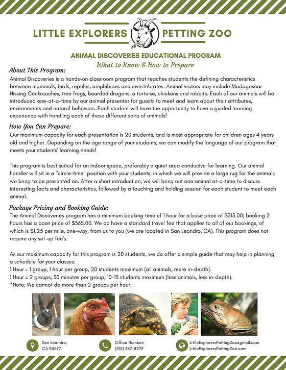 animal discoveries  information sheet 20