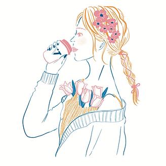 女の子コーヒーイラスト