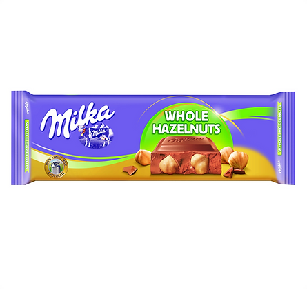 CHOCOLATE MILKA WHOLE HAZELNUTS 300 GR