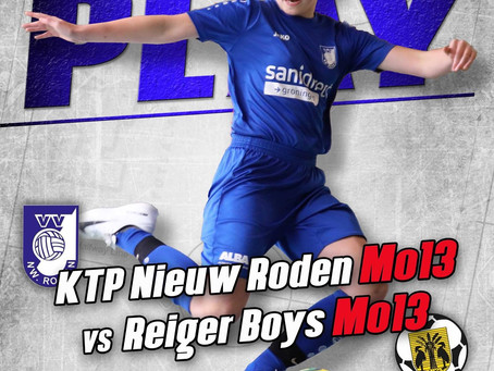 Vrijdag 12 april. In het voorprogramma van KTP Vr1.KTP Nieuw Roden Mo13 vs Reiger Boys Mo13
