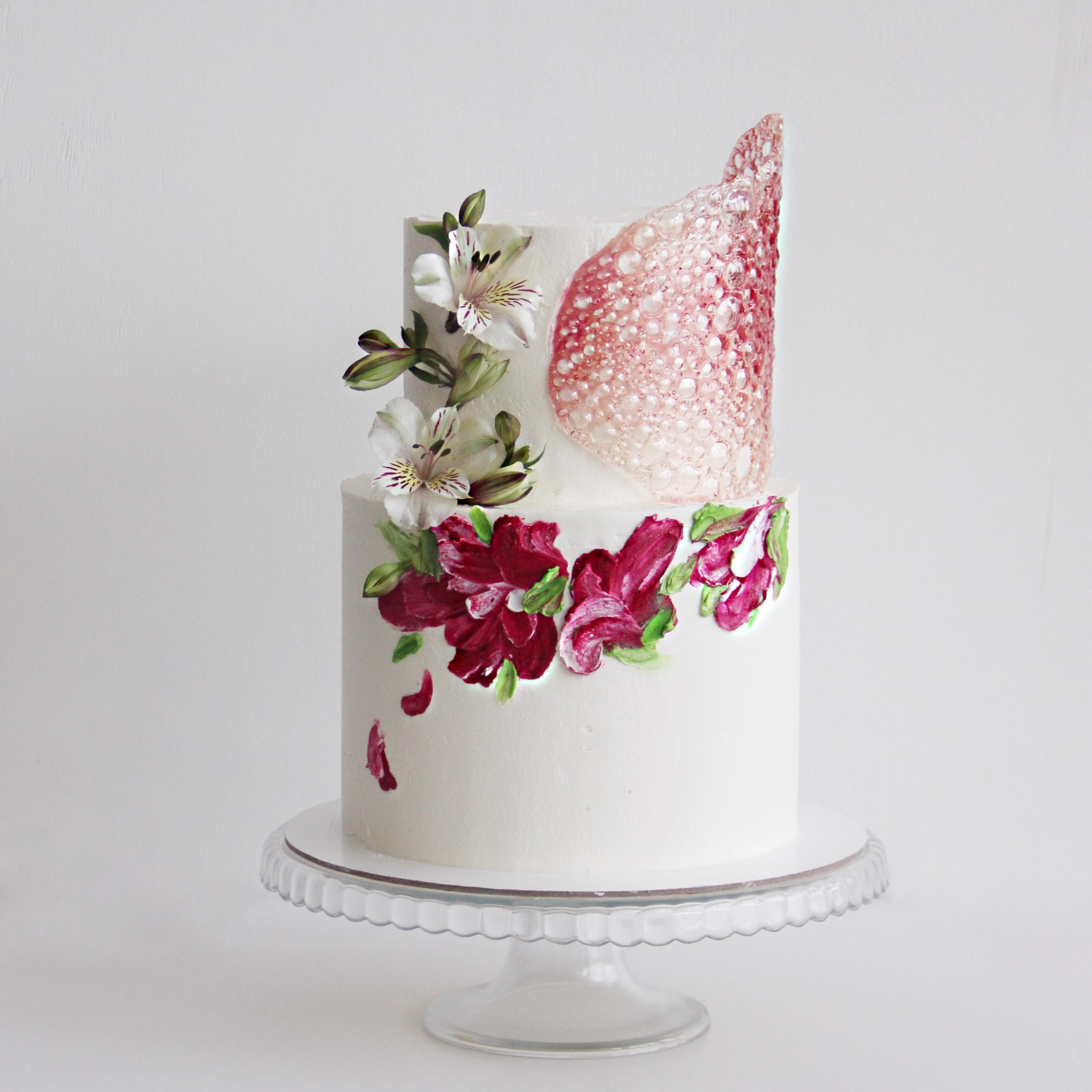 свадебный торт с акварелью